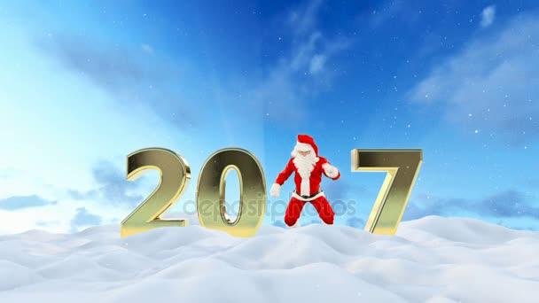 Santa Claus Dancing 2017 text krásná zimní krajina