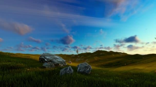 Strom života na zelené louce, krásné sluneční paprsky, posouvání