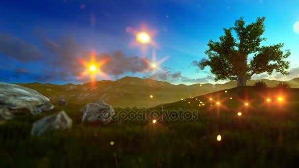 Malý chlapec se letadlo hračka a světlušky nad zelenou louku s strom života za úsvitu
