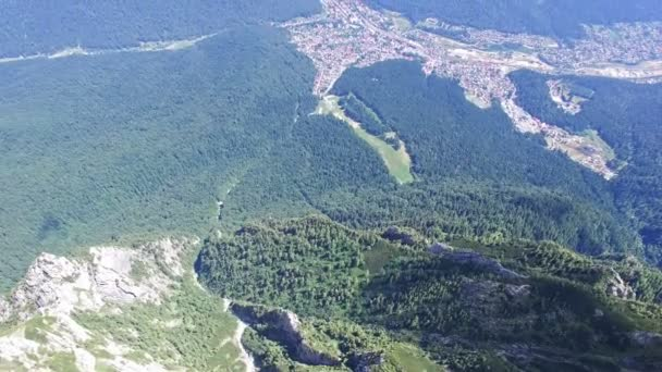 Aerial view of Bucegi city from Caraiman Peak, Romania
