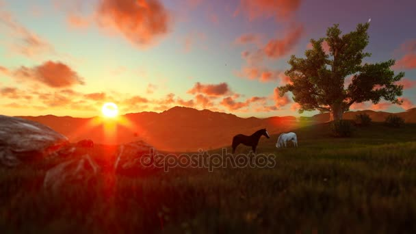Two horses on green meadow and tree of life, beautiful sunset
