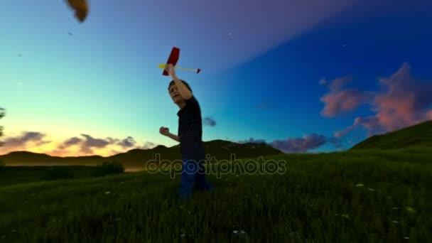 Chlapeček s letadlo na zelené louce, strom života na ranní světlo, posouvání
