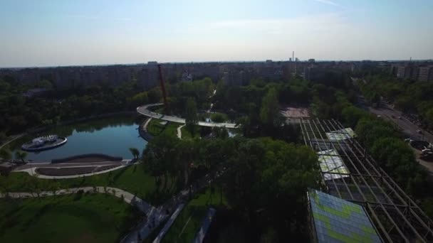 Aerial view of park in Bucharest, Romania