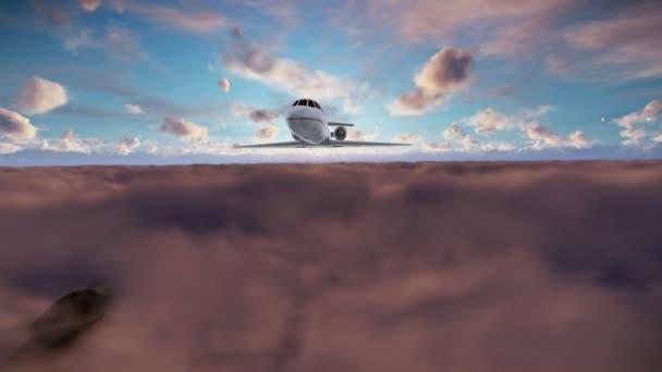 Cessna, letící nad mraky za úsvitu