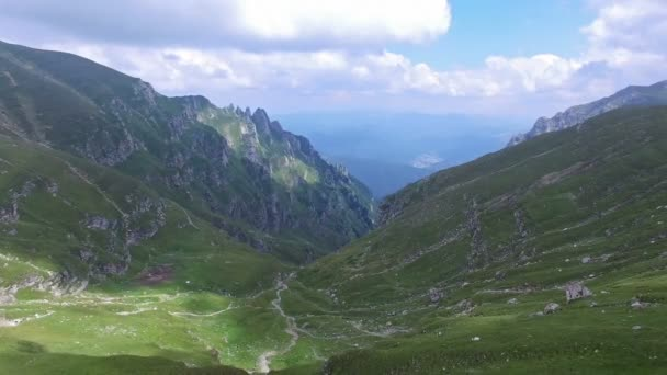 Aerial view of Bucegi mountains, near Omu peak, Romania
