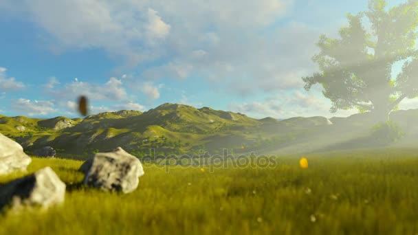 Žena běží na zelené louce, strom života na ranní