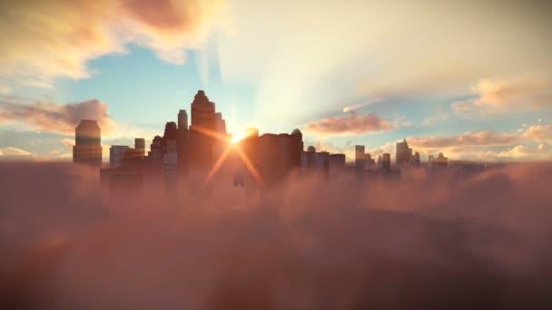 Panorama nad mraky timelapse při východu slunce