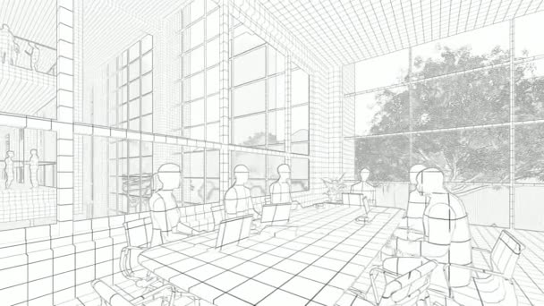 Business team silhouettes meeting, office building, tilt, 3d sketch to color