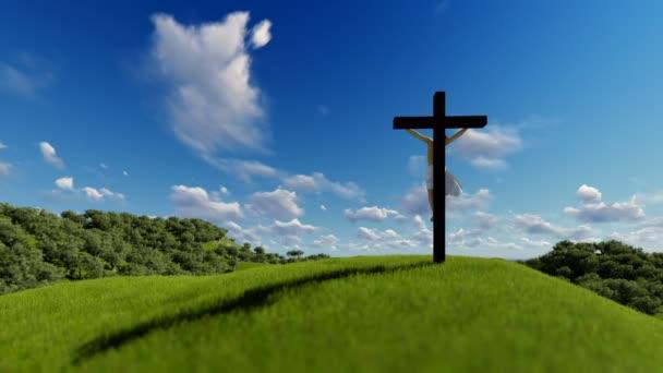 Jézus a sziluettje keljen át kék ég, vallási fogalom