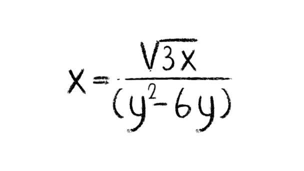 Tři matematické rovnice napsané křídou, proti bílé
