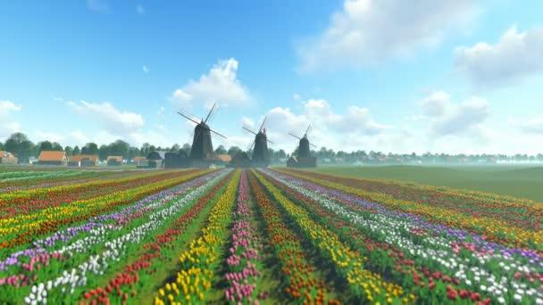 Tradiční holandské větrné mlýny s pulzující tulipány v popředí nad modrá obloha,-nakloněná rovina