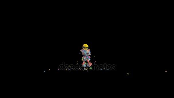 Social Network Icons Robot Dancing against black, 4K