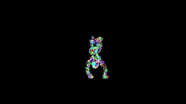 Ballerino hip-hop fatto da palline colorate contro il nero