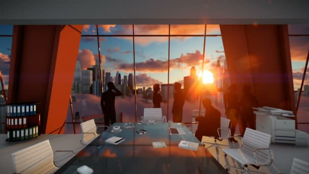 Silueta obchodního týmu lidí, zadní pohled Panorama při západu slunce