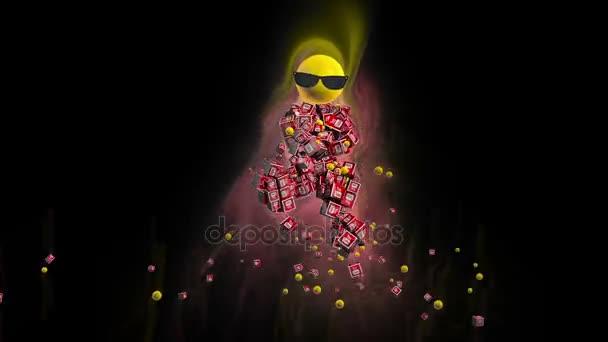 YouTube-on ikon tánc karakter körül színes fények, fekete ellen