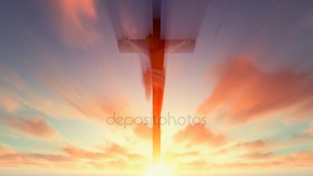 Ježíš kříž proti nebeské rudá obloha s holuby létající