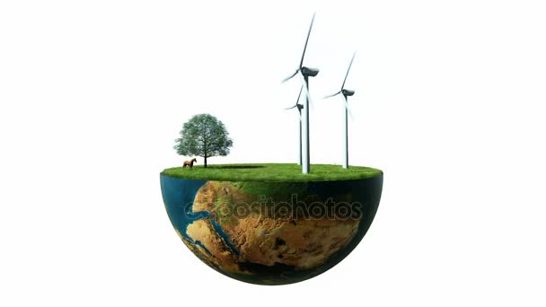 Environmental concept, Earth globe holding wind turbines against white