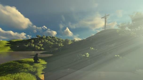 Žena se modlí u Ježíš kříž nad krásné ráno sluneční paprsky, posouvání