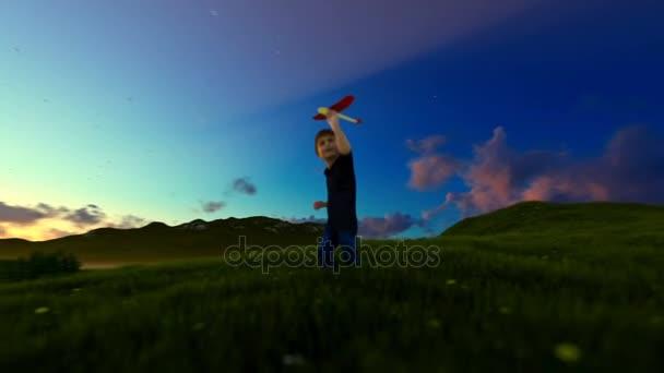 Chlapeček s letadlo a dědeček na zelené louce, východ slunce, posouvání