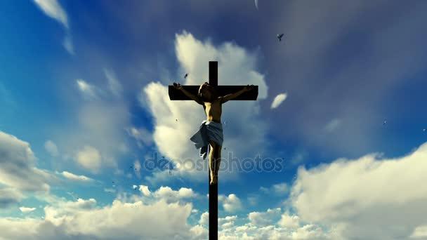 Ježíš kříž proti nebeské modré obloze s holuby létající