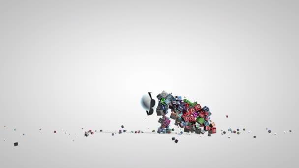 Sociální sítě ikony, legrační charakter tance, Luma matný připojené