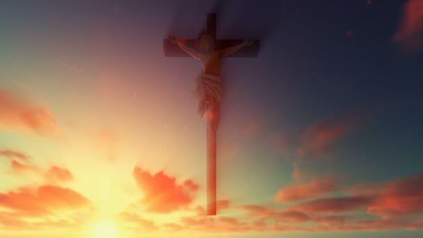 Jesus cross against beautiful sunrise