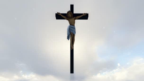 Ježíš kříž proti nebeské bílé obloze s holuby létající