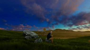 Grandfather resting on green meadow at sunrise, panning