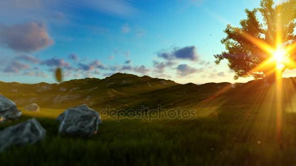 Žena běží na zelené louce, strom života za úsvitu