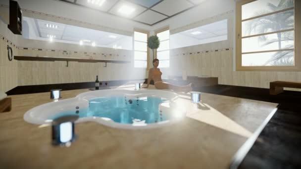 Bagno Moderno Con Vasca Idromassaggio.Bella Donna In Bagno Moderno Interno Con Vasca Idromassaggio E Vino Inclinare