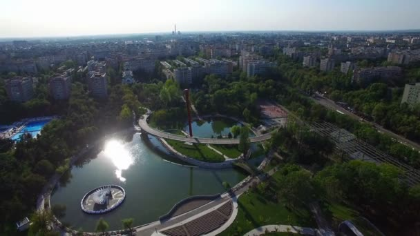 Aerial view of Moghioros park, Bucharest, Romania