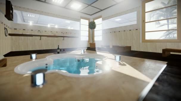 Moderne badkamer interieur met jacuzzi en wijn tilt u stockvideo