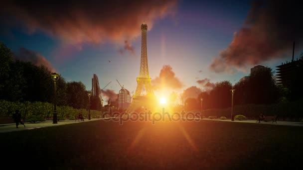 Wonderful view Eiffel Tower in Paris at sunset