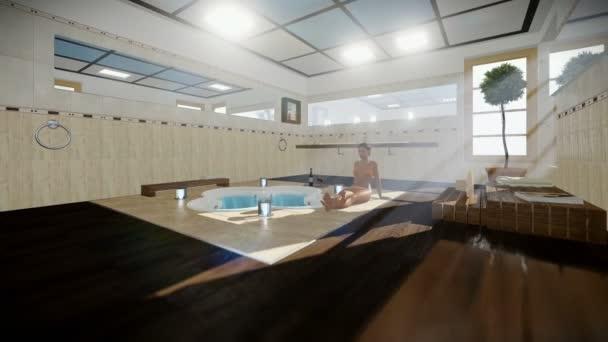 Belle femme à l\'intérieur de la salle de bains moderne avec jacuzzi ...