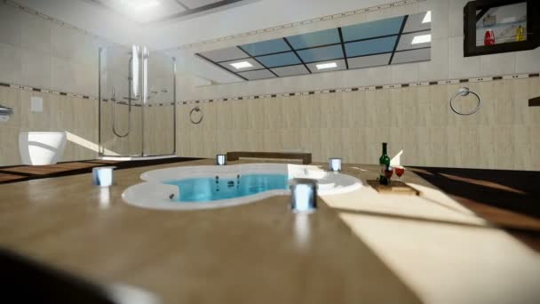 Interiér moderní koupelnou s vířivou vanou a vínem, cestovní fotoaparát