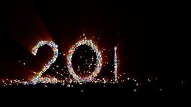 New year 2018 greeting glowing text number particles animation new year 2018 sign made from colorful globes light rays m4hsunfo
