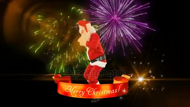 santa claus dance with merry christmas ribbon fireworks stock video