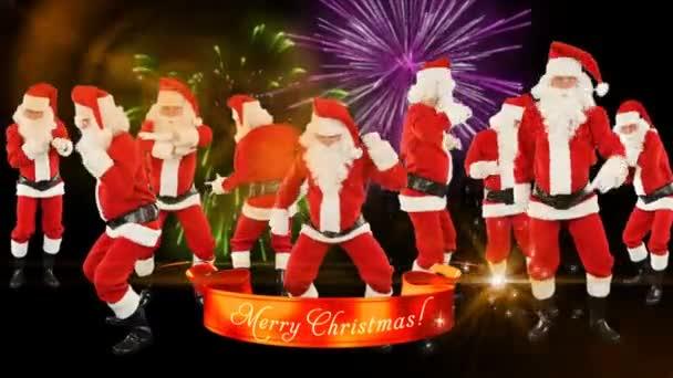 Buon Natale Video.Gruppo Di Ballo Di Babbo Natale Buon Natale Nastro Fuochi D Artificio