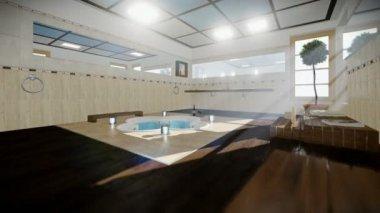 Intérieur de la salle de bains moderne avec jacuzzi et vin ...