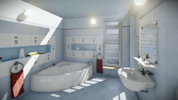 Moderní koupelny interiér, fotoaparát posouvání
