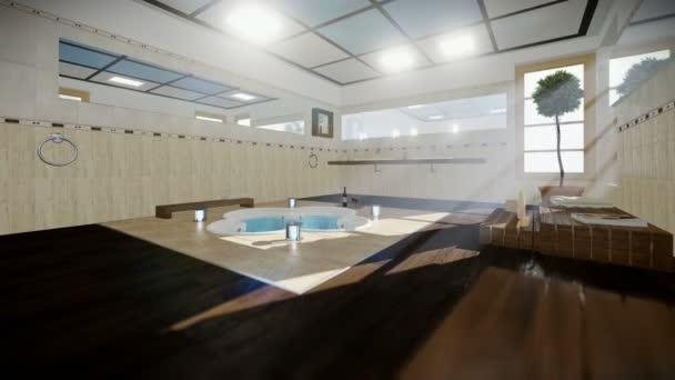 Intérieur de la salle de bains moderne avec jacuzzi et vin, voyage ...