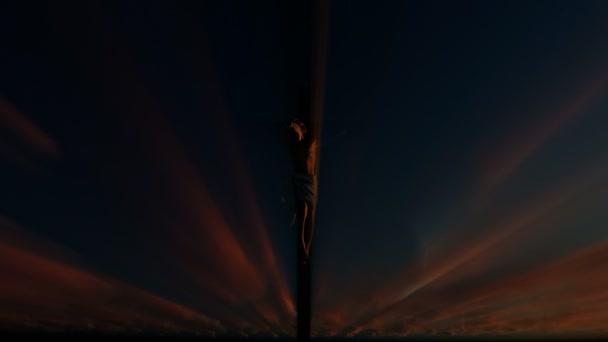 Jesus cross against timelapse sunrise, 4K