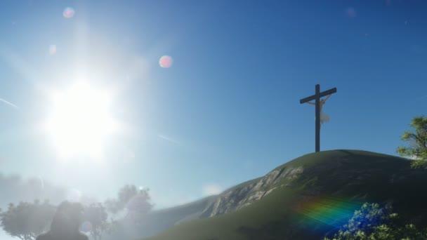Christian woman praying at Jesus cross, panning