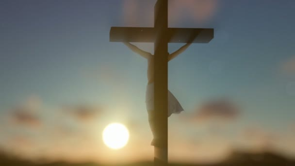 Jesus cross against blurry sunrise, panning