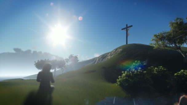 Křesťanka se modlí u Ježíš kříž, posouvání, 4k