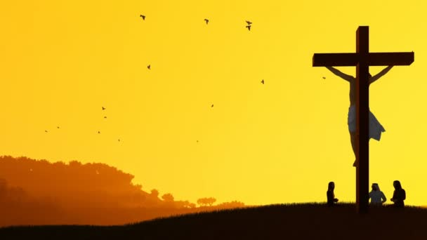 Jesus on cross and worshipers praying against hot sunset, panning