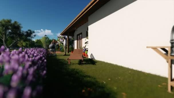 Rezidenční vilový komplex s pár a děti hrají, hukot letu