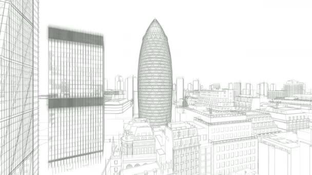 London sketch, The Gherkin, Swiss Reinsurance Headquarters, drone flight 4K
