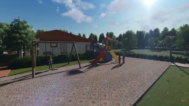 Rezidenční vilový komplex s lidmi, relaxační, fly cam