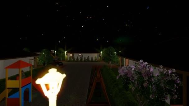 Wohn Villenkomplex mit Menschen entspannend, sternenklaren Himmel, morgen